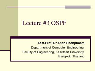 Lecture #3 OSPF