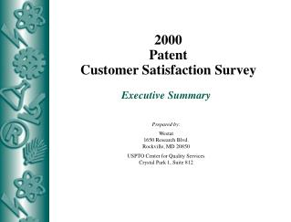 2000 Patent Customer Satisfaction Survey