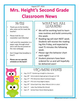 Mrs. Height's Second Grade Classroom News