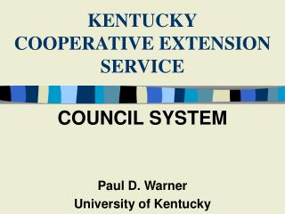 KENTUCKY COOPERATIVE EXTENSION SERVICE