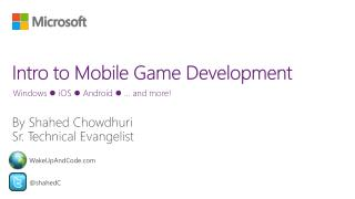 Intro to Mobile Game Development