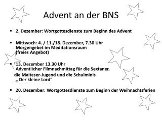Advent an der BNS