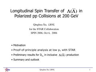 Longitudinal Spin Transfer of           in Polarized pp Collisions at 200 GeV