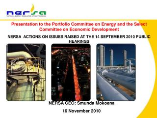 NERSA CEO: Smunda Mokoena 16 November 2010