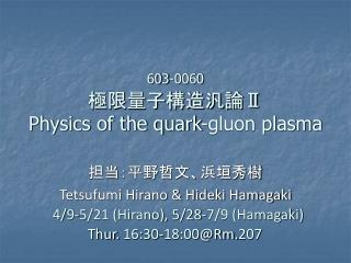 603-0060 極限量子構造汎論 Ⅱ Physics of the quark-gluon plasma