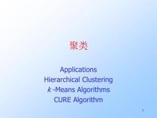Applications Hierarchical Clustering k  -Means Algorithms CURE Algorithm