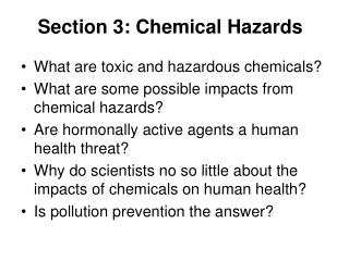 Section 3: Chemical Hazards