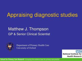 Appraising diagnostic studies