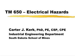 TM 650 – Electrical Hazards