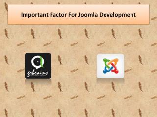 Important Factor For Joomla Development