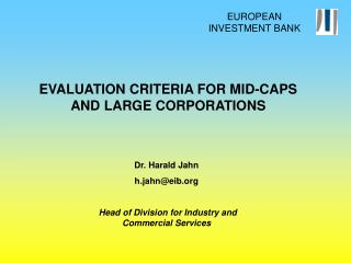 EVALUATION CRITERIA FOR MID-CAPS AND LARGE CORPORATIONS