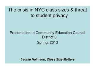 The crisis in NYC class sizes & threat to student privacy
