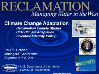 Climate Change Adaptation Reclamation Climate Studies CEQ Climate Adaptation