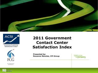 2011 Government Contact Center Satisfaction Index
