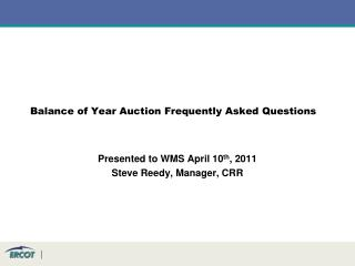 Balance of Year Auction Frequently Asked Questions