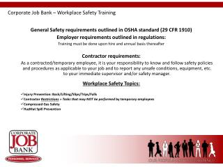 Corporate Job Bank – Workplace Safety Training
