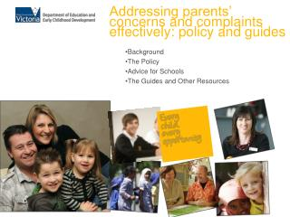 Background The Policy Advice for Schools The Guides and Other Resources