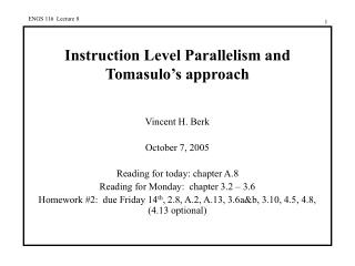 Instruction Level Parallelism and Tomasulo's approach