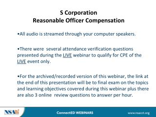 S Corporation  Reasonable Officer Compensation