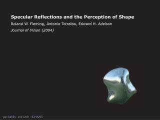 Specular Reflections and the Perception of Shape