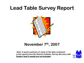 Lead Table Survey Report