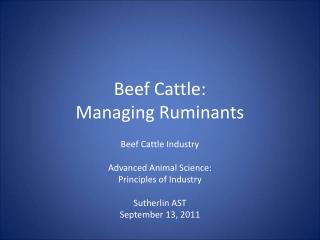 Beef Cattle: Managing Ruminants