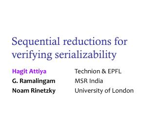 Sequential reductions for verifying serializability