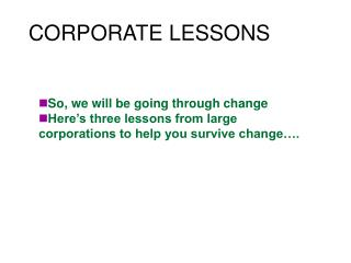CORPORATE LESSONS