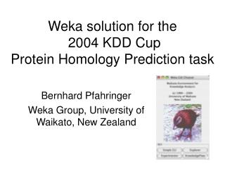 Weka solution for the  2004 KDD Cup Protein Homology Prediction task