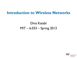 Introduction to Wireless Networks