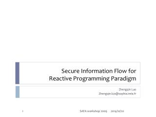 Secure Information Flow for  Reactive Programming Paradigm