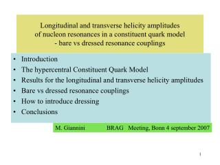 Introduction The hypercentral Constituent Quark Model