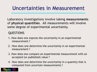 Uncertainties in Measurement