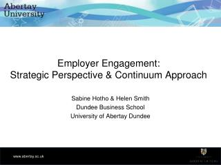 Employer Engagement: Strategic Perspective & Continuum Approach