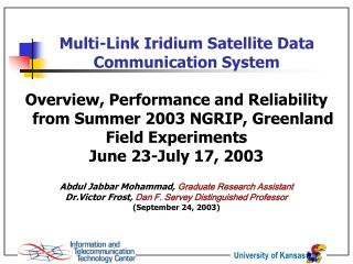 Multi-Link Iridium Satellite Data Communication System