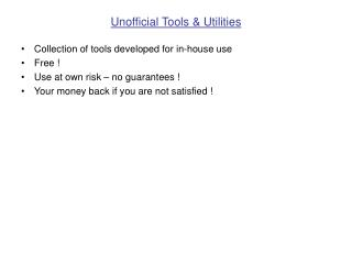 Unofficial Tools & Utilities