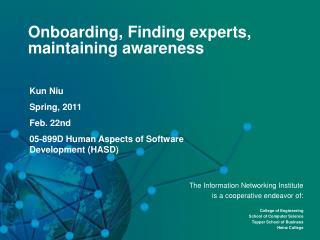 Onboarding, Finding experts, maintaining awareness
