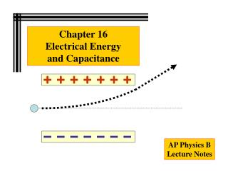 Chapter 16 Electrical Energy  and Capacitance