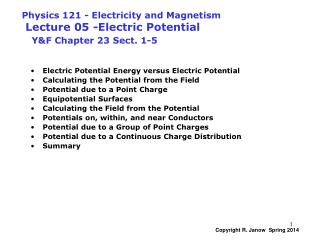 Electric Potential Energy versus Electric Potential Calculating the Potential from the Field