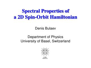 Spectral Properties of a 2D Spin-Orbit Hamiltonian