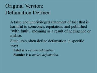 Original Version: Defamation Defined