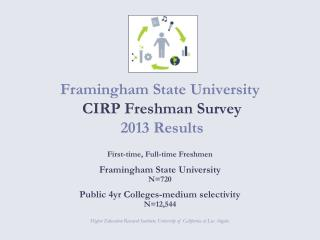 Framingham State  University  CIRP Freshman Survey   2013 Results