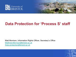 Data Protection for 'Process S' staff
