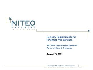 Security Requirements for Financial Web Services XML Web Services One Conference