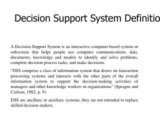 Decision Support System Definition
