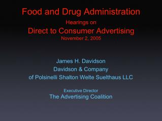 Food and Drug Administration Hearings on Direct to Consumer Advertising November 2, 2005