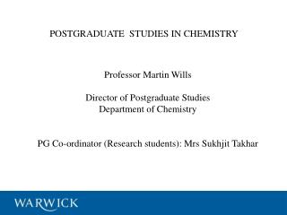 POSTGRADUATE  STUDIES IN CHEMISTRY