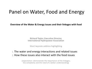 Panel on Water, Food and Energy