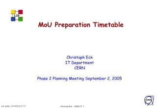 MoU Preparation Timetable