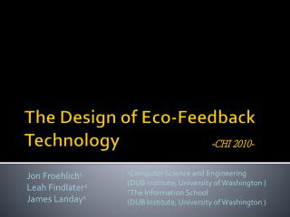 The Design of Eco-Feedback Technology